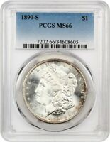 1890-S $1 PCGS MINT STATE 66 - FLASHY GEM - MORGAN SILVER DOLLAR - FLASHY GEM