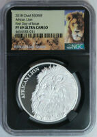 2018 CHAD AFRICAN LION S500F NGC PROOF 69 PROOF ULTRA CAMEO