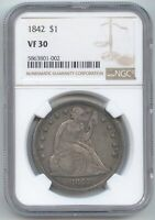1842 SEATED LIBERTY DOLLAR NGC VF 30