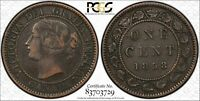 1858 CANADA LARGE CENT KM 1 PCGS GOLD SHIELD VF 35 BROWN   C