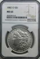 1882 O MS63 NGC  MORGAN DOLLAR  FULLY STRUCK CARTWHEEL SURFACES NICE