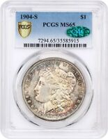 1904-S $1 PCGS/CAC MINT STATE 65 - BEAUTIFUL TONING - MORGAN SILVER DOLLAR