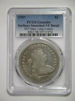 1797 DRAPED BUST DOLLAR $1 90 SILVER PCGS  FINE-DETAILS GRADED COIN