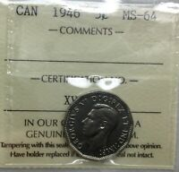 CANADA 1946 NICKEL 5 CENTS  ICCS MS64 GREAT STRIKE LUSTROUS CHOICE ORIGINAL