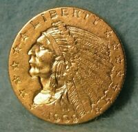 1909 INDIAN HEAD QUARTER EAGLE $2.50 UNITED STATES GOLD COIN