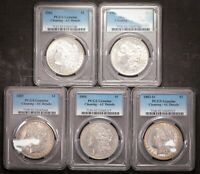 1881 TO 1885 AU DETAILS MORGAN FIVE COIN LOT 90 US SILVER $1 DOLLAR COIN PCGS