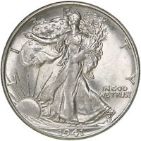 1941 S WALKING LIBERTY HALF DOLLAR 90 SILVER AU SLIDER SEE PICS D385