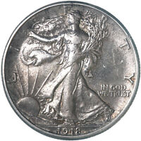 1918 S WALKING LIBERTY HALF DOLLAR 90 SILVER AU OLD CLEANING SEE PICS E438