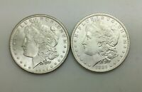 1887 P  & 1885 P MORGAN SILVER DOLLARS LOT 2 COINS FROM NICE ORIGINAL  BU ROLLS