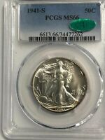 1941-S PCGS MINT STATE 66 CAC WALKING LIBERTY SILVER HALF DOLLAR-BRIGHT  GEM CAC