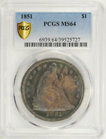 1851 LIBERTY SEATED S$1 PCGS MINT STATE 64
