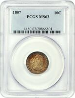 1807 10C PCGS MINT STATE 62 - BUST DIME - PRETTY EARLY DIME