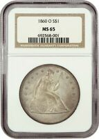 1860-O $1 NGC MINT STATE 65 - POPULAR NEW ORLEANS MINT - LIBERTY SEATED DOLLAR