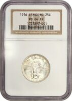 1916 STANDING LIBERTY 25C NGC MINT STATE 64 FH - FAMOUS KEY DATE RARITY