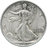 1943 D WALKING LIBERTY HALF DOLLAR 90 SILVER EXTRA FINE EXTRA FINE