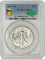 1936-D WALKING LIBERTY HALF 50C MINT STATE 66 PCGS SECURE, CAC 942809-20