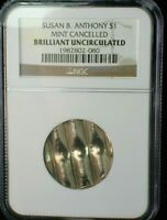 SUSAN B. ANTHONY DOLLAR  MINT CANCELLED WAFFLE COINAGE NGC B
