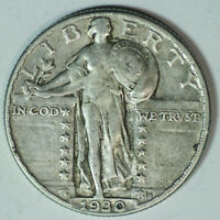 1930-P STANDING LIBERTY SILVER QUARTER / HIGHER GRADE / LAST YEAR ISSUED / SQ87
