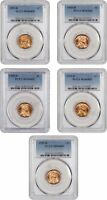LOT OF 1955-D 1C PCGS MINT STATE 66 RD 5 COINS - LINCOLN CENT