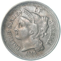 1866 THREE CENT NICKEL ABOUT UNCIRCULATED AU SEE PICS E212