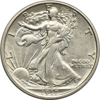1917-S REVERSE WALKING LIBERTY HALF DOLLAR. AU DETAIL/LIGHTLY CLEANED. C00050506