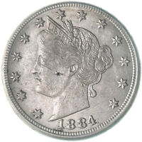 1884 LIBERTY V NICKEL ABOUT UNCIRCULATED AU