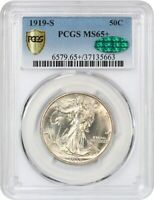 1919-S 50C PCGS/CAC MINT STATE 65 - , EARLY WALKER - WALKING LIBERTY HALF DOLLAR