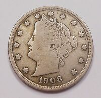 UNITED STATES 1908 FIVE CENTS F-VF    LIBERTY HEAD USA 5 V NICKEL COIN