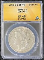 1898-S $1 MORGAN SILVER DOLLAR ANACS SLAB EF 45 DETAILS CLEANED TOUGH DATE