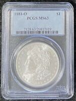 1881-O $1 MORGAN SILVER DOLLAR PCGS SLAB MINT STATE 63 FULL BREAST