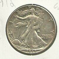1942 D WALKING LIBERTY  90  SILVER 50 CENT