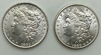 1883 O & 1900 O MORGAN DOLLAR  PAIR  CHOICE LUSTROUS GRADE FROM ROLLS NICE