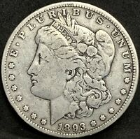 1893 P MORGAN SILVER DOLLAR F DETAILS PHILADELPHIA COIN - ONLY 378,000 MINTED