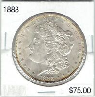 1883-P $1 MORGAN SILVER DOLLAR CHOICE BU, TRULY  COIN