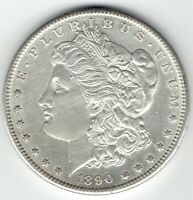 1890-S $1 MORGAN SILVER DOLLAR, PL REVERSE, OBVERSE HAS CLEANING MARKS