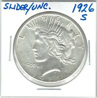 1926-S $1 PEACE DOLLAR, SLIDER, UNCIRCULATED