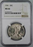 1941 WALKING LIBERTY HALF DOLLAR NGC MINT STATE 66 FROM ORIGINAL ROLL NEVER DIPPED