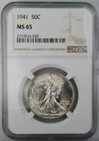1941 WALKING LIBERTY HALF DOLLAR NGC MINT STATE 65 FROM ORIGINAL ROLL FROSTY PREMIUM HALF