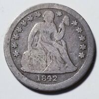 1842 SEATED LIBERTY DIME SCRATCHED GRADING VG PRICED RIGHT SHIPPED FREE  E174