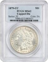1879-CC $1 PCGS MINT STATE 62 CAPPED DIE KEY DATE FROM CARSON CITY