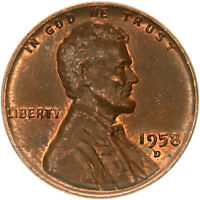 1958 D LINCOLN WHEAT CENT ABOUT UNCIRCULATED PENNY AU