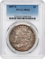 1897-S $1 PCGS MINT STATE 63 - COLORFUL TONING - MORGAN SILVER DOLLAR - COLORFUL TONING