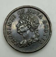 1824  NOVA SCOTIA ONE PENNY TOKEN GEORGE IV BETTER  GRADE CHNS2A2 COINAGE AXIS