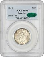 1916 STANDING LIBERTY 25C PCGS/CAC MINT STATE 65 - FAMOUS KEY DATE - FAMOUS KEY DATE