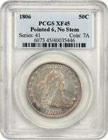 1806 50C PCGS EXTRA FINE 45 POINTED 6, NO STEMS GREAT TYPE COIN - BUST HALF DOLLAR
