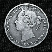 1890 CANADA NEWFOUNDLAND 10 CENTS KM 3 LOW 100K MINTAGE  SILVER COIN