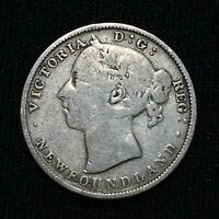 1890 CANADA NEWFOUNDLAND 20 CENTS KM 4 SILVER  KEY DATE COIN