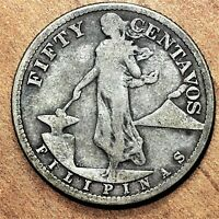 1919 S PHILIPPINES 50 CENTAVOS SILVER KM 171 NICE  BETTER DATE COIN