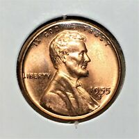 1955 S LINCOLN WHEAT CENT BRONZE PENNY HIGH GRADE RED COIN   BROADSTRIKE   ERROR