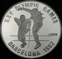 CAMBODIA 20 RIELS 1989 PROOF   SILVER   SUMMER OLYMPICS FENC
